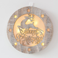 Christmas holiday hanging ornaments round deer wooden decor star light