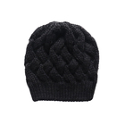 Common 100% acrylic black winter knitting beanie hat from China
