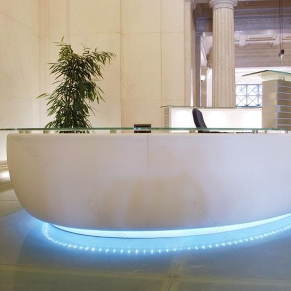 new modern small spa reception desk solid surface semi circle reception desk