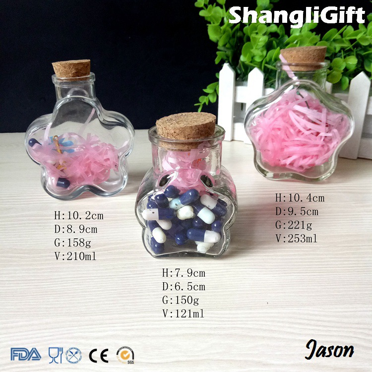 Heart Shaped Glass Jar With Cork Heart Shaped Glass Jar With Cork