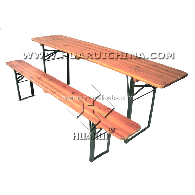 Wholesale fire wooden beer with metal legs garden <strong>table</strong> and bench
