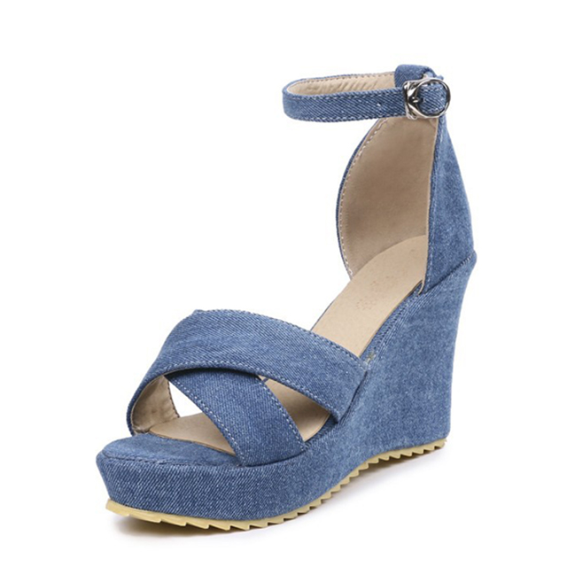 e7ec149bd7 2017 OEM Girls New Style Women Funky Jeans Denim monogram canvas Fabric  Shoes Wedge Sandals