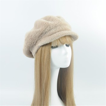 OEM Service Women Winter Hat Fashion Mohair Warm winter knitted hat Yellow Beret Winter Hat Beret