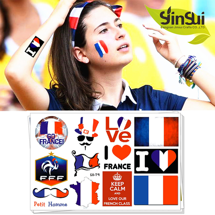 High quality customized skin safe flag face temporary tattoo india