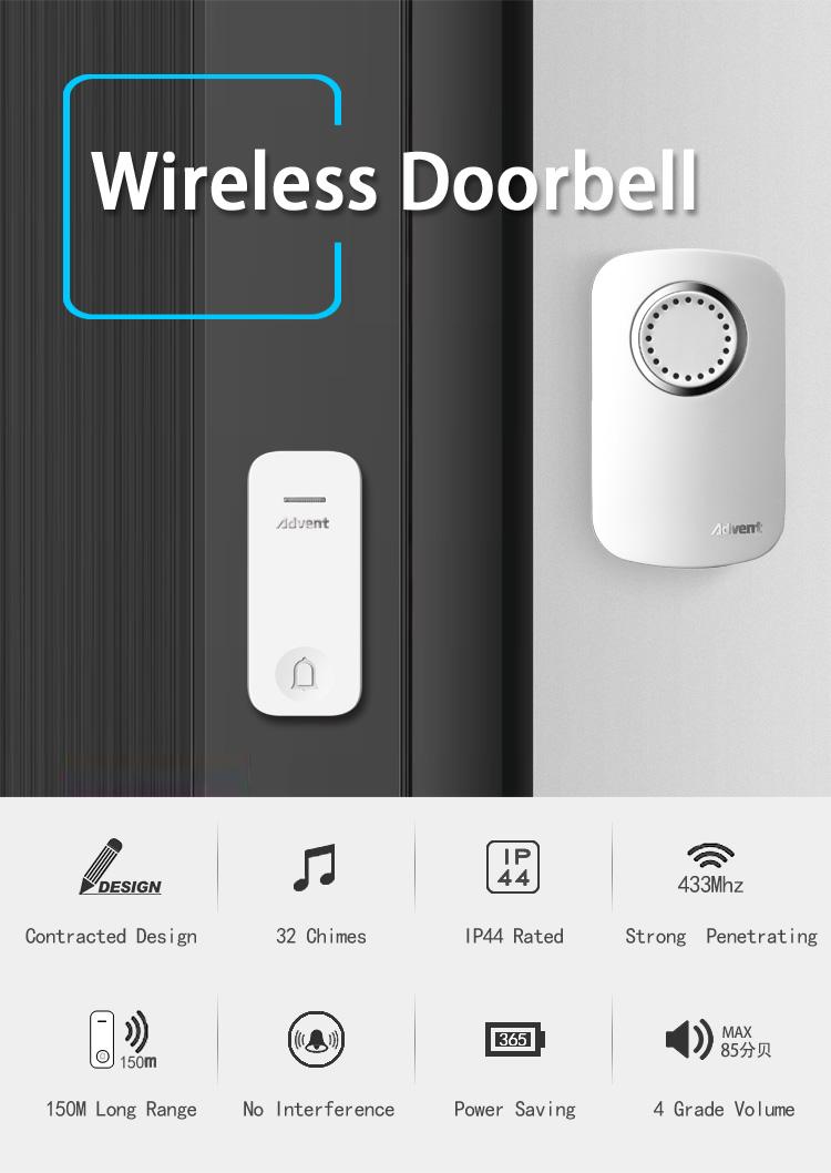 Digital Apartment Door Bell No Battery Bell Push Wireless Remote ...