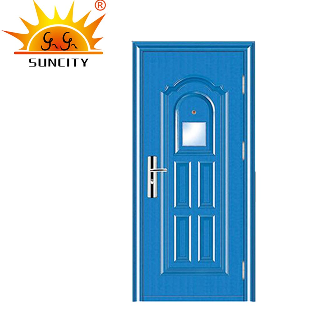 SC-S128 Flat Metal Door for Apartment, Used Hollow Exterior Metal Door Prices with Glass