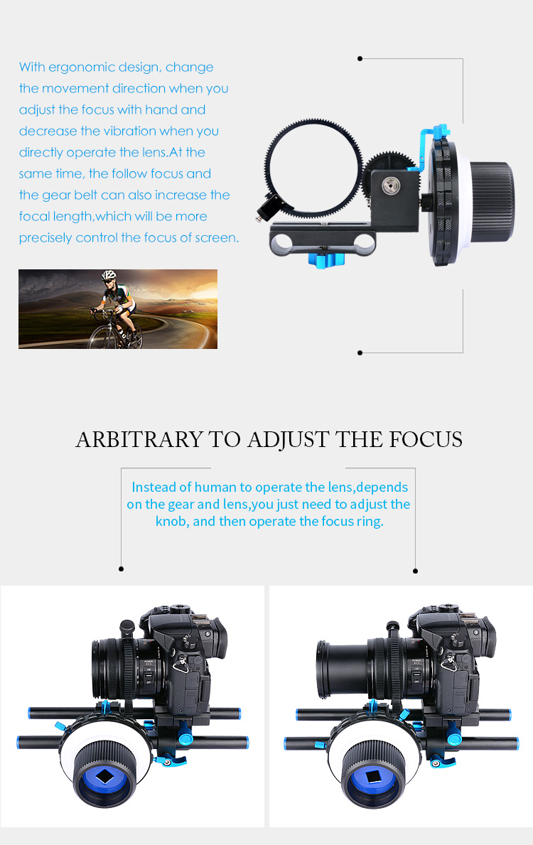 YELANGU DSLR Follow Focus F3 with Adjustable A/B Gear Ring Belt support Digital Camera