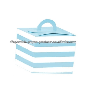 Cupcake Boxes Blue and White Stripe CUPCAKE BOXES GIFT BOX Birthday Candy Lolly Buffet Party Supplies Baking Supplies