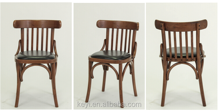 Antique style leather seat wood dining chair restaurant for Wood dining chairs with leather seats