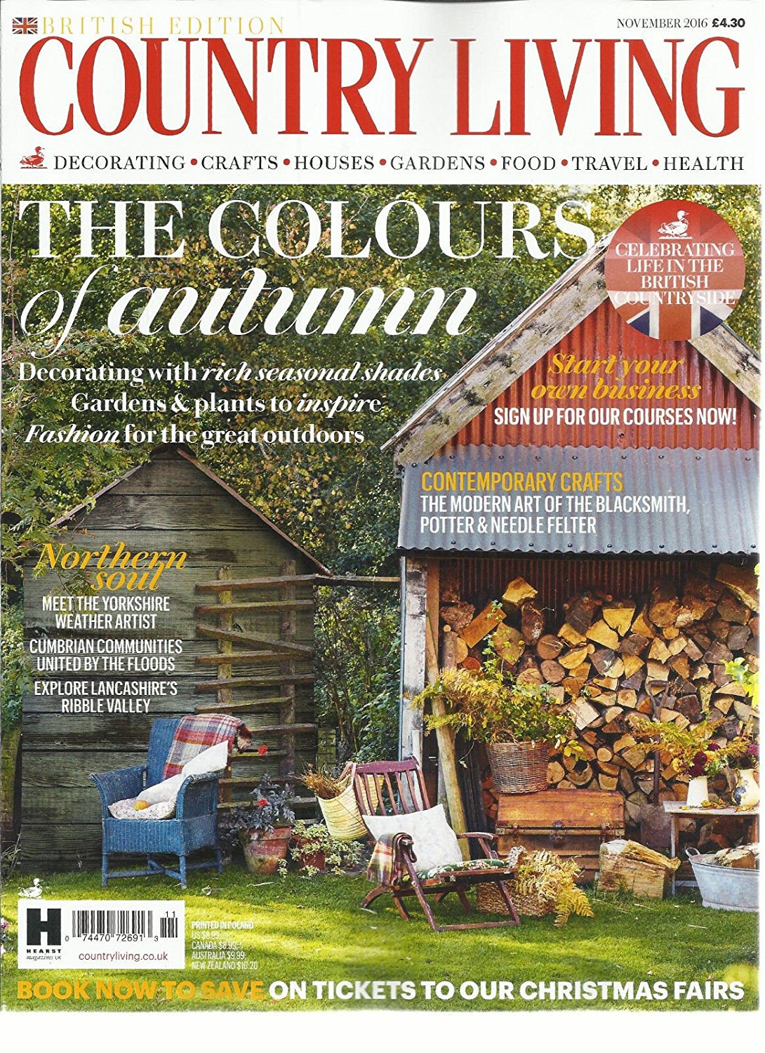 Get Quotations · COUNTRY LIVING MAGAZINE, NOVEMBER, 2016 BRITISH EDITION  THE COLOURS OF AUTUMN