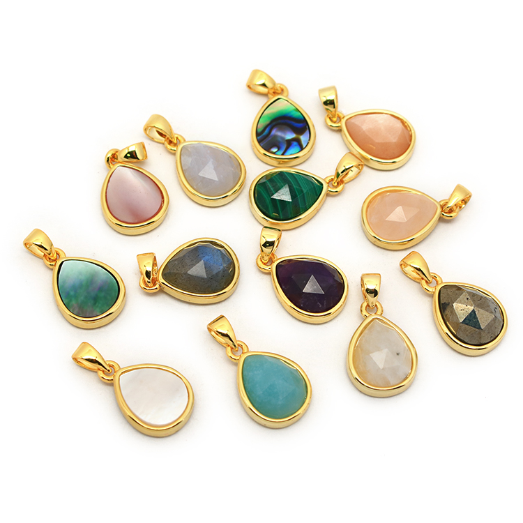 JF7283 Dainty Faceted Natural Semiprecious Stone Teardrop Pendants,Tiny Gold Bezel Faceted Gem Teardrop Pendant