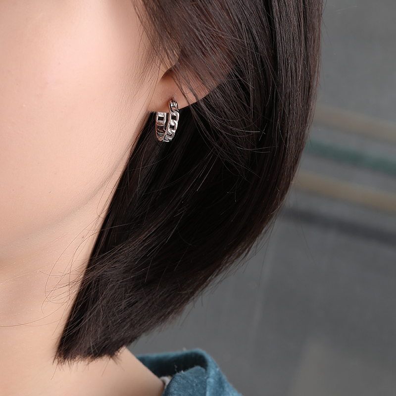 E597E 트렌드 패션 18K 골드 도금 925 스털링 실버 쿠바 링크 연석 후프 귀걸이 여성