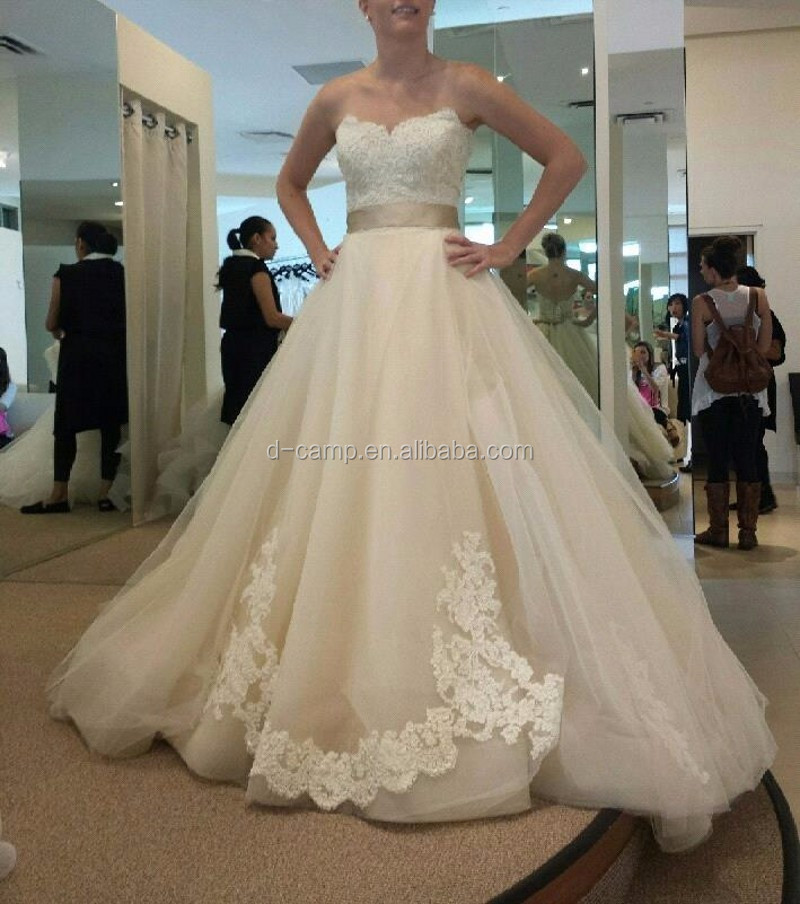 Wd003 Strapless Lace Bodice Cheap Latest Bridal Wedding Gowns ...