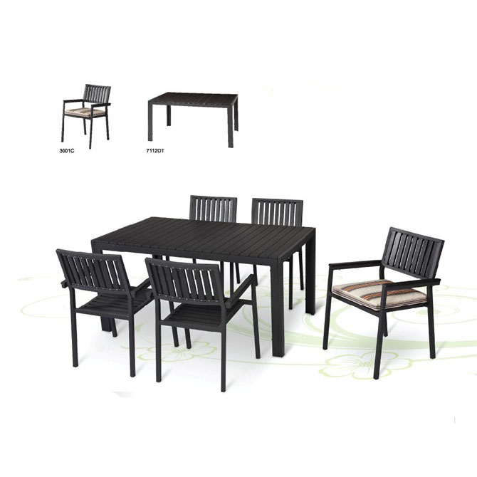 2018 fashion Outdoor garden furniture aluminium plastic wood dinning room set