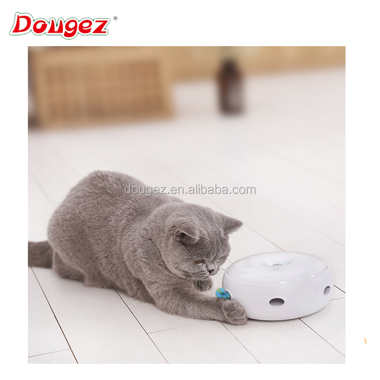 2018 New Electric Smart Cat Toy Set Funny Cat Stick Crazy Mouse chasing scratching Donut shape Auto Toy with feather