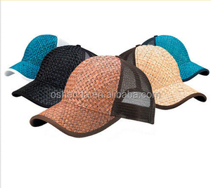 Newest customized nice design straw baseball cap, bamboo hat