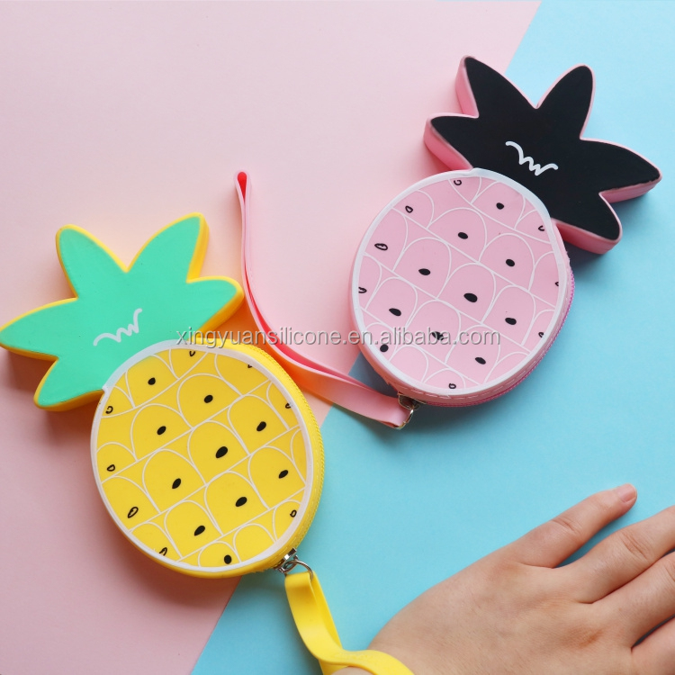 fruit shape design Enevelope Bag Zipper Silicone Clutch Wallets/ Purses