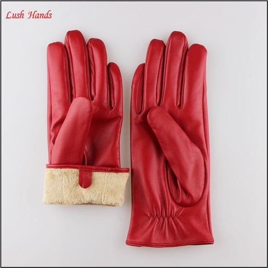 ladies Red sheepskin leather gloves