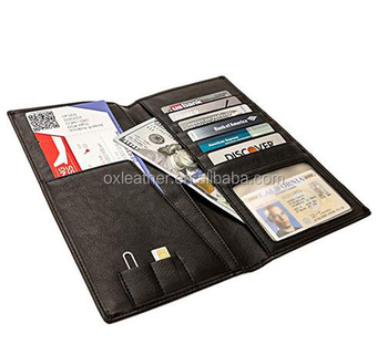 8845706ed594 Long and Tall leather Travel Wallet in a Gift Box Travel Document Holder  and Ticket Organizer