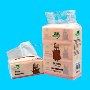 Custom printed soft pack tablet white virgin wood pulp facial tissue paper