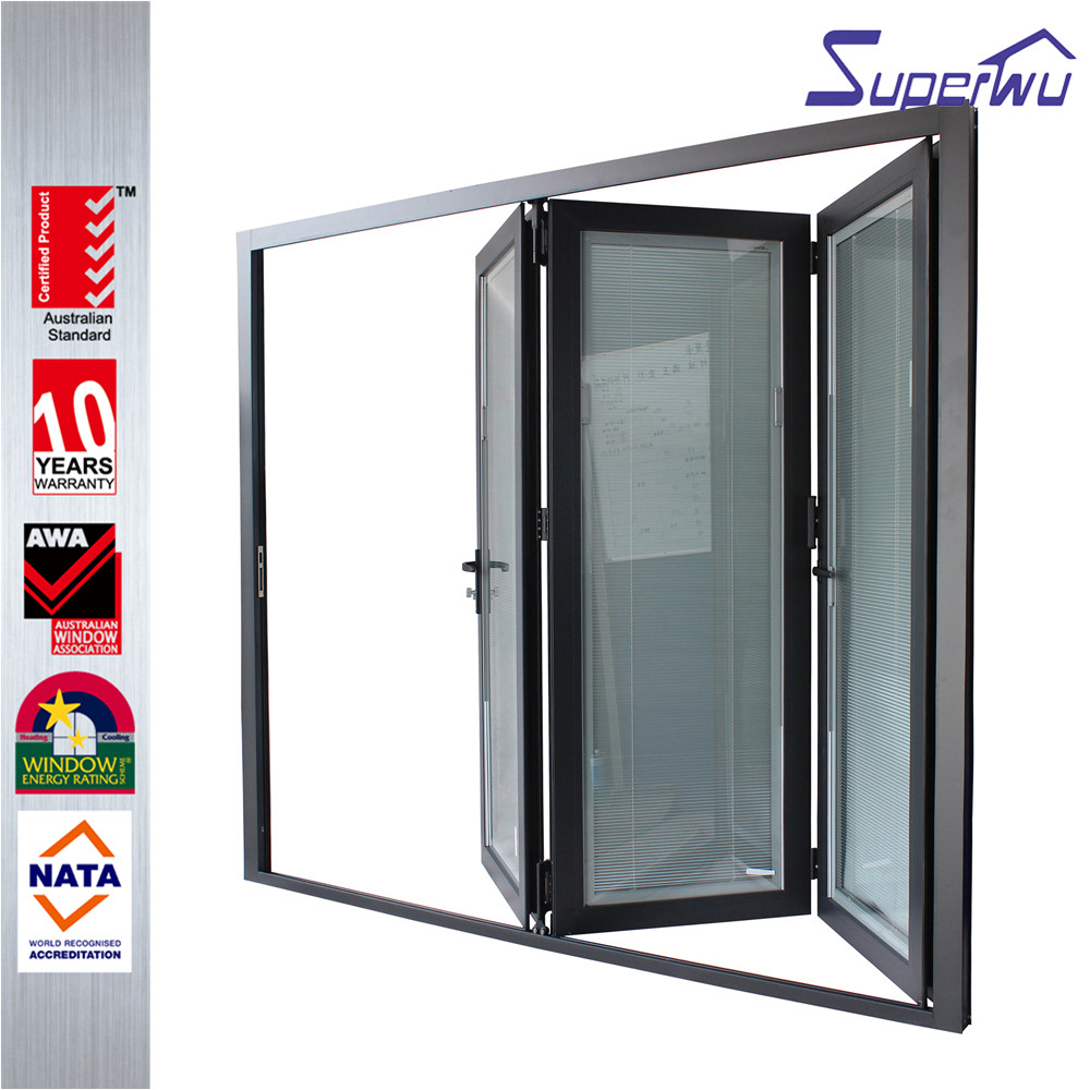 Custom size aluminium frame bi-folding door with three panels with built-in blind retractable flyscreen available