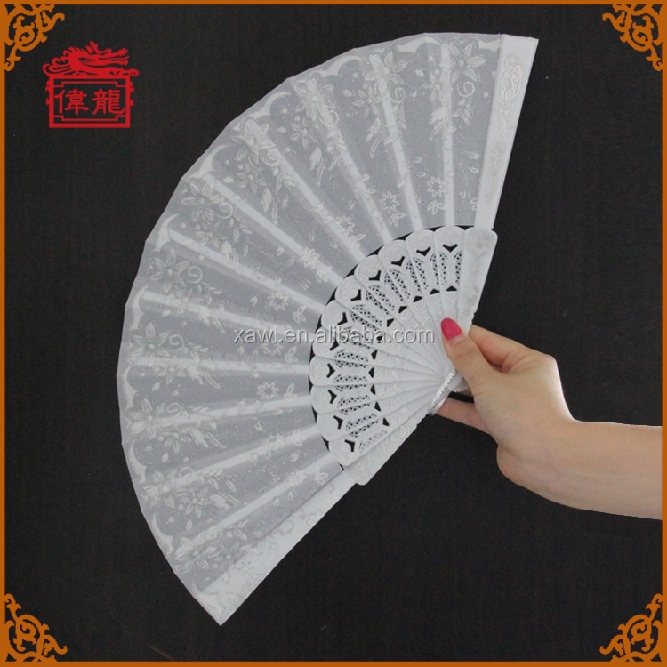 Purely flower pattern white printed hand held nylon fans GYS910-5