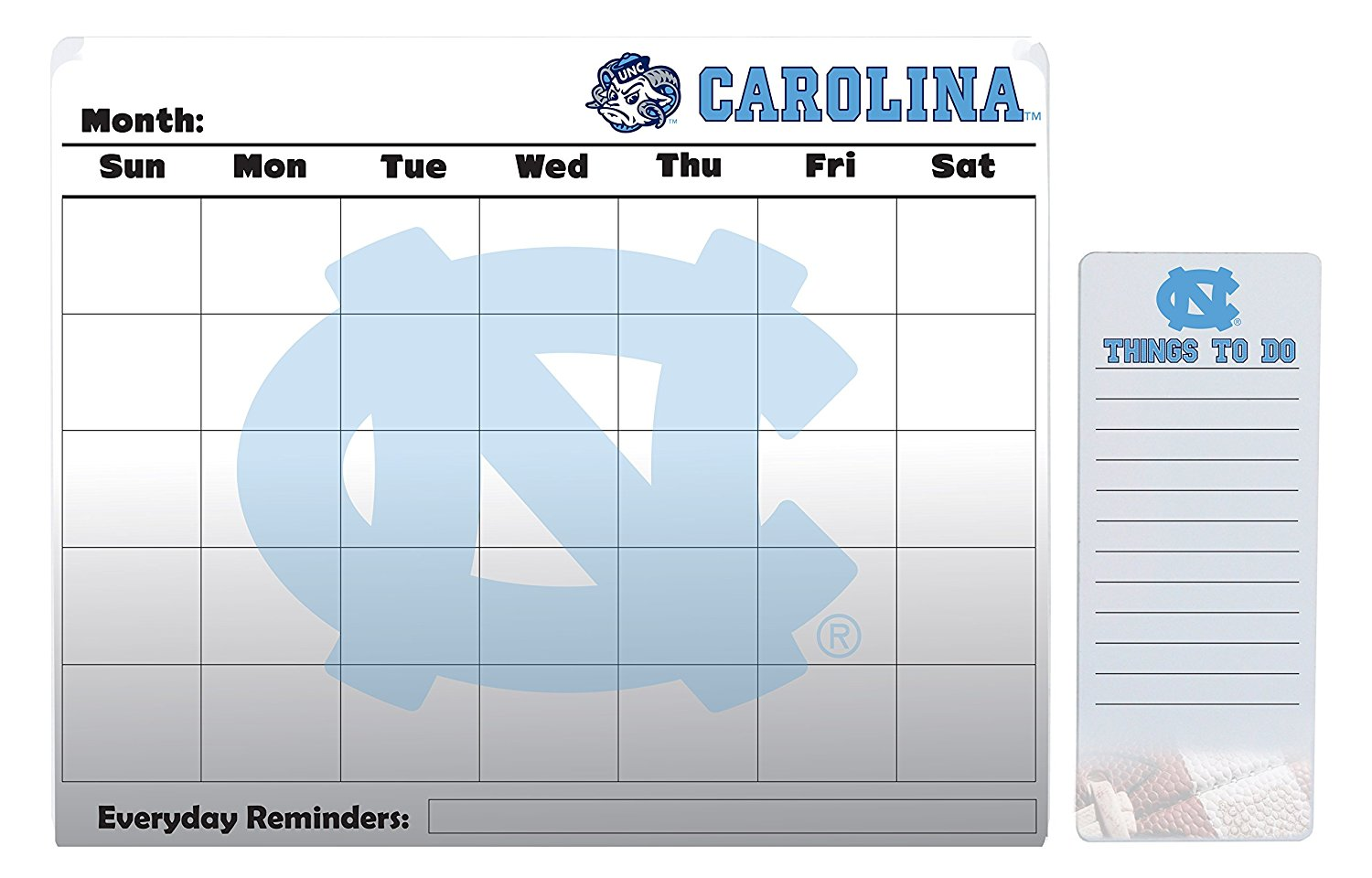 "UNC Tarheels 16"" x 20"" Dry Erase Calendar Peel and Stick and 4"" x 10"" Dry Erase Board Peel and Stick"