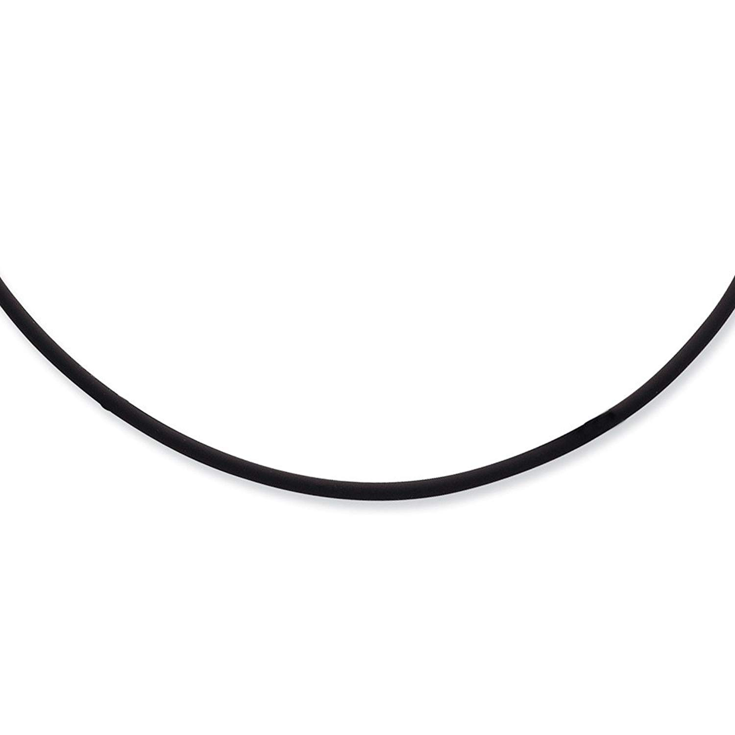 Solid 925 Sterling Silver 16inch 3mm Black Rubber Cord Necklace Chain - with Secure Lobster Lock Clasp