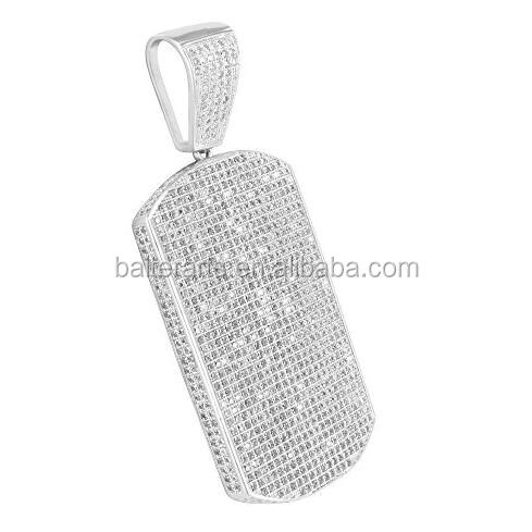 Bling Bling Hip Hop Jewelry 925 Sterling Silver Micro Pavimentato Cubic Zirconia Diamante DELLA CZ Mens Iced Out Dog Tag Pendant
