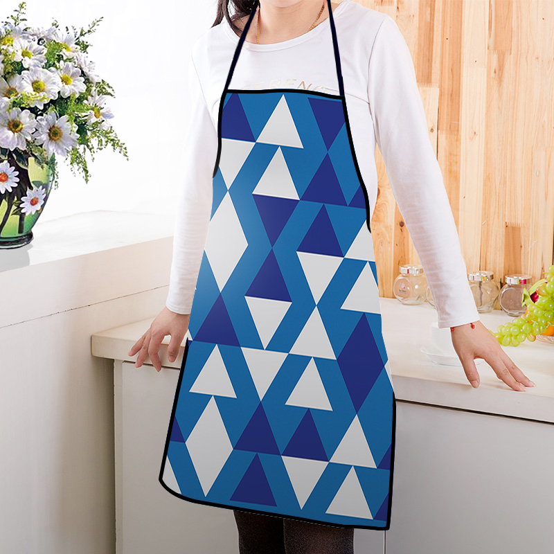 Modern Grid Art Printed Kitchen Usage Polyester Material Audults Apron For Home
