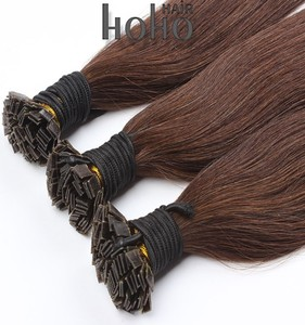 Long lasting brazilian human hair brown color flat iron hair extensions