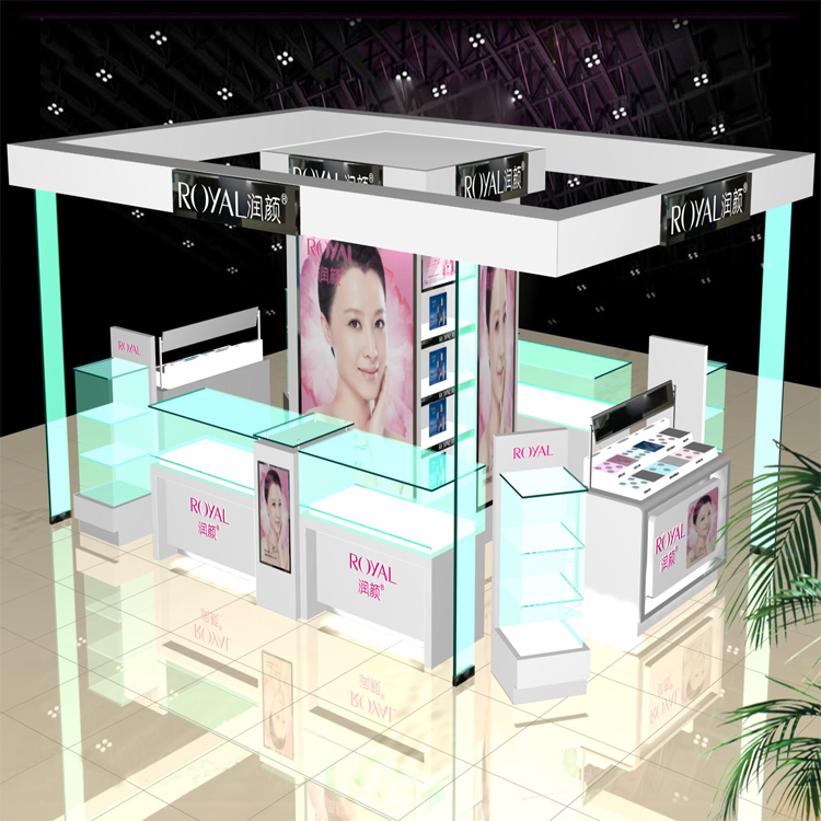 Hot sale fashion glass makeup station furniture and cosmetic kiosk counter