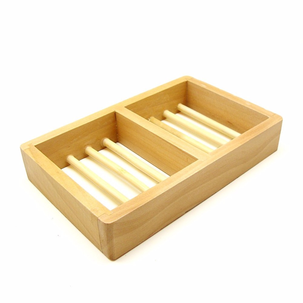 Bath Accessories 2 Compartments Natural Wood Soap Dish / Wooden Soap Holder