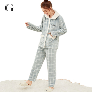 Factory Outlet Plaid Letter Embroidered Plush Pajama Set