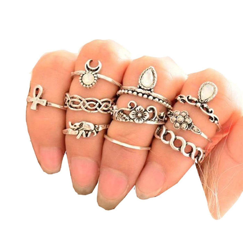Mandystore 10Pcs/ Set Boho Rings for Women Arrow Moon Midi Finger Knuckle Rings Set