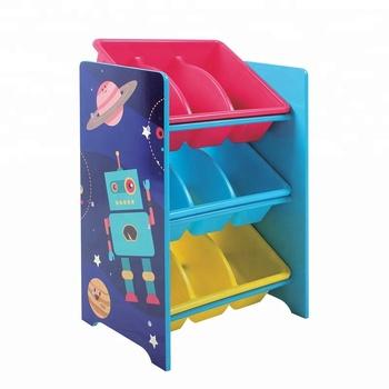 Wooden Kid Toy Organizer Plastic Bins Storage Shelf Robot Design