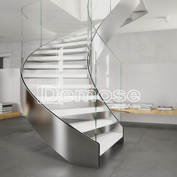Modern Stairs Design Indoor Curved Staircase Design Glass And Wood