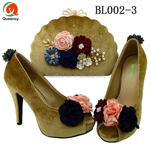 Queency Fancy Flowers Decorative High Heel Ladies Wedding Shoes And Bag Set Italian Gold