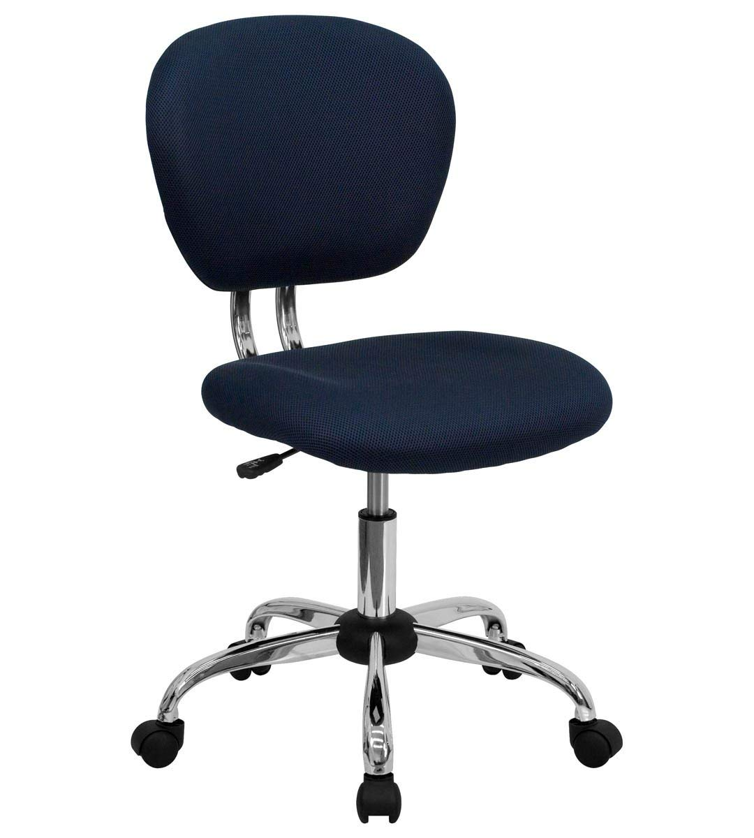 Mid-Back Navy Mesh Task Chair with Chrome Base