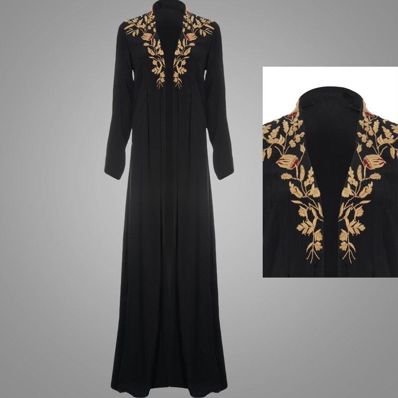 Abaya modellen dubai geborduurde open jas zwart moslim for Islamitische sportkleding vrouwen