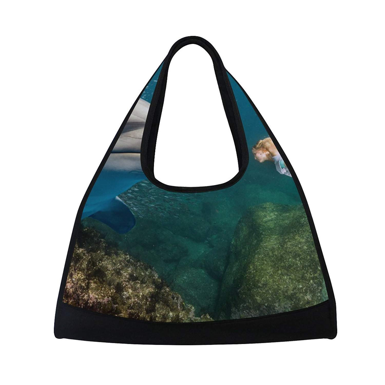 069f1baeffc4 Get Quotations · MAPOLO Dolphin Underwater Meets Blonde Mermaid Travel Duffel  Bag Sports Gym Bag Shoulder Bag