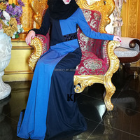 KJ Newest spring color blocked abaya with stone decorated on waist band 0154