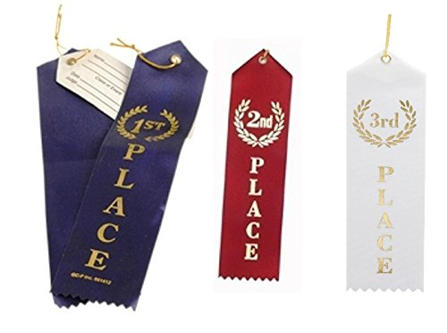 "36 Pcs Award Ribbons with a Card and String (1st Place (Blue), 2nd Place (Red), 3rd Place (White) - 12 Each; Size: 8.6"") Sport Competition's Award Ribbons, Talent Show Ribbons"