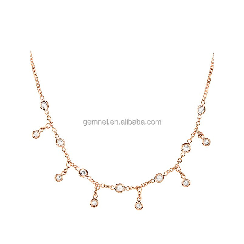 Bohemian bezel set diamond 14kt rose gold craft necklace jewellery