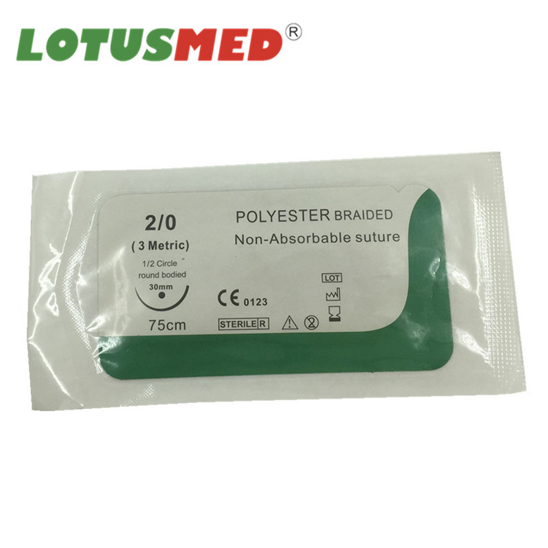 Medical Disposable Polyester Braided Steriled Surgical Suture With Needle