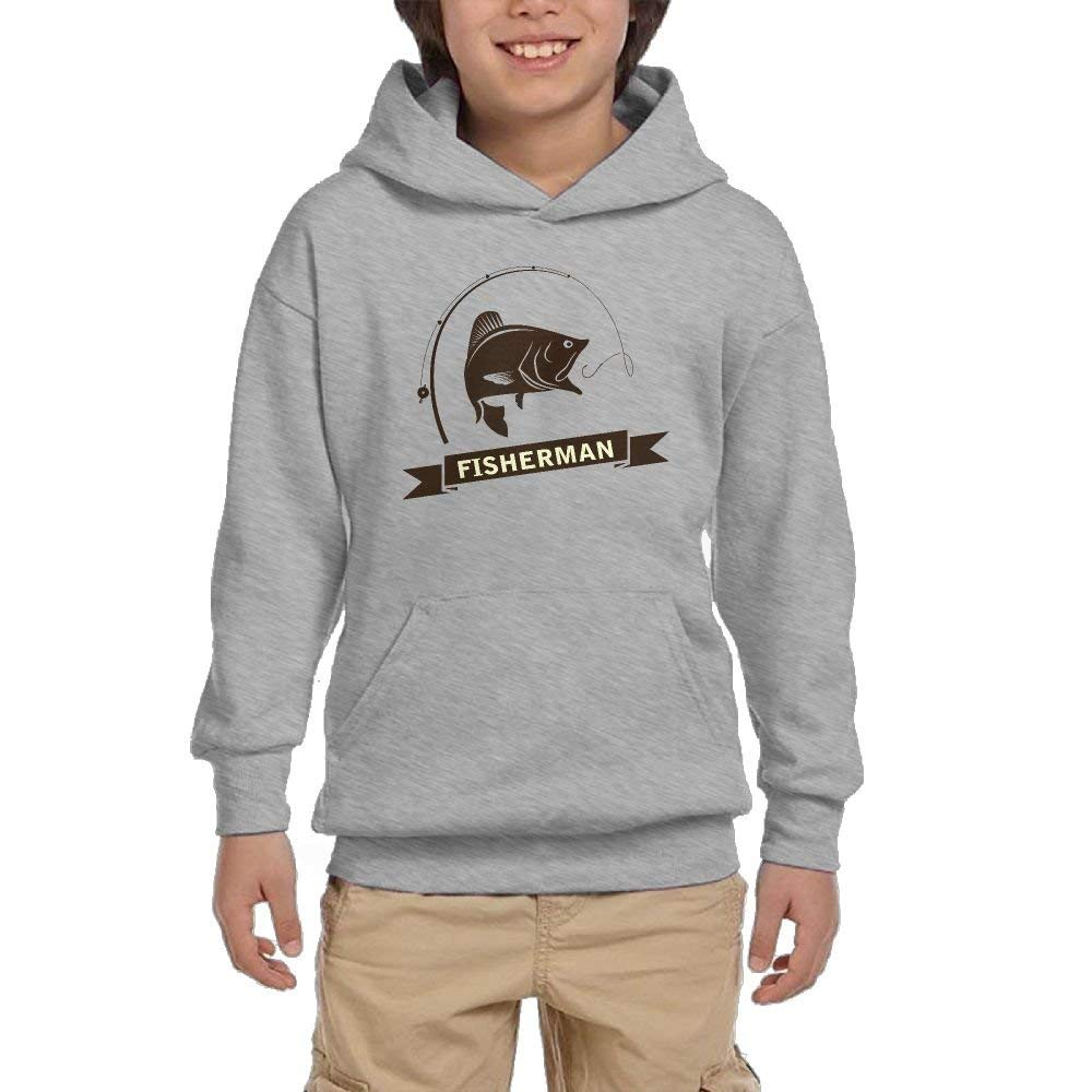 Fisherman Cartoon Girl Athletic With Pocket Hoodies Crew Neck Pullover Sweatshirts