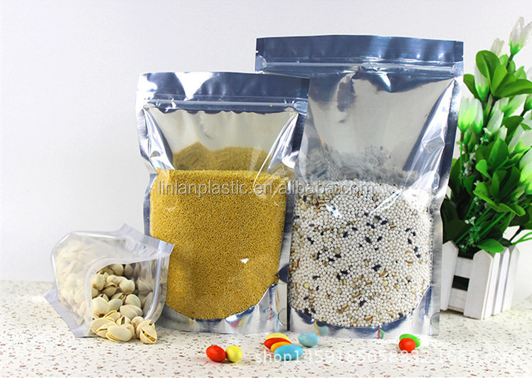 14*19+4cm hot-selling 0.08mm plastic Stand-Up aluminum foil Zipper Pouch packaging bag for <strong>rice</strong>