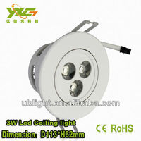 High quality warm white living room lamp 3W ceiling light