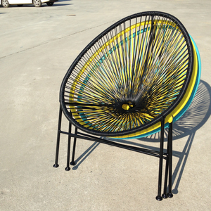 Stackable egg shape steel plastic 4mm solid round rope rattan chair designer furniture outdoor garden leisure acapulco chair