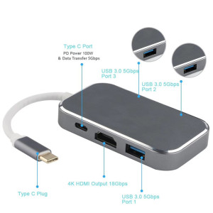 USB Type C Hub with HDMI USB3.0 5 in 1